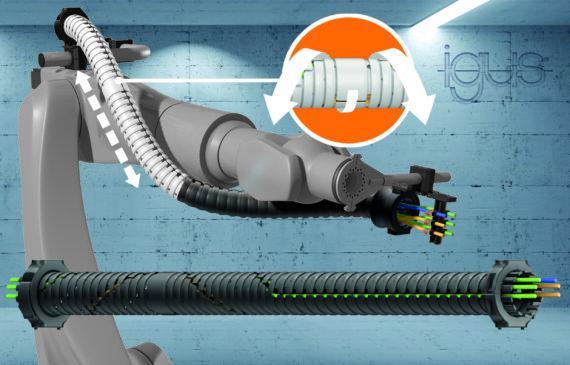 Il nuovo sistema TRX igus - una soluzione salvaspazio per il terzo asse del robot con recupero di lunghezza fino al 40%